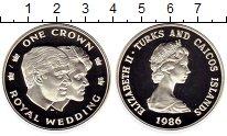 Изображение Монеты Великобритания Теркc и Кайкос 1 крона 1986 Серебро Proof