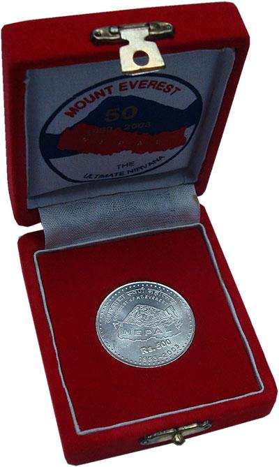 Изображение Подарочные монеты Непал 500 рупий 2003 Серебро UNC- Карта Непала.