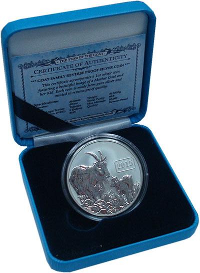 Изображение Подарочные монеты Токелау Год козы 2015 Серебро Proof Год козы. Серебро 99