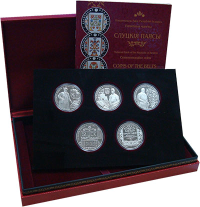 Изображение Подарочные монеты Беларусь Слуцкие пояса 2013 Серебро Proof `Набор ``Слуцкие поя