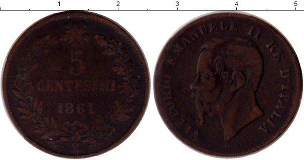 Картинка Монеты Италия 5 сентесим Медь 1861