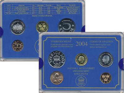 Изображение Подарочные монеты Швеция Набор монет 2004 года 2004  UNC Набор посвящён монет