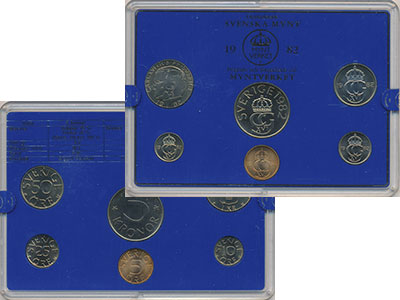 Изображение Подарочные монеты Швеция Набор монет 1982 1982  UNC `В наборе 6 монет но