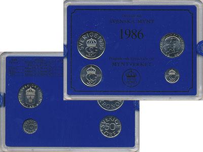 Изображение Подарочные монеты Швеция Набор монет 1986 года 1986  UNC Набор посвящён монет