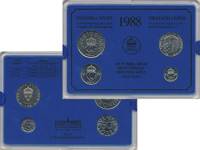 Изображение Подарочные монеты Швеция Набор монет 1988 года 1988  UNC Набор посвящён монет