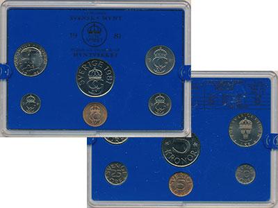 Изображение Подарочные монеты Швеция Набор монет 1981 года 1981  UNC `В наборе 6 монет но