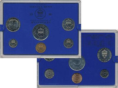Изображение Подарочные монеты Швеция Набор монет 1980 года 1980  UNC `В наборе 6 монет но