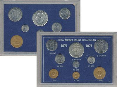 Изображение Подарочные монеты Швеция Набор монет 1971 года 1971  UNC `В наборе 9 монет но