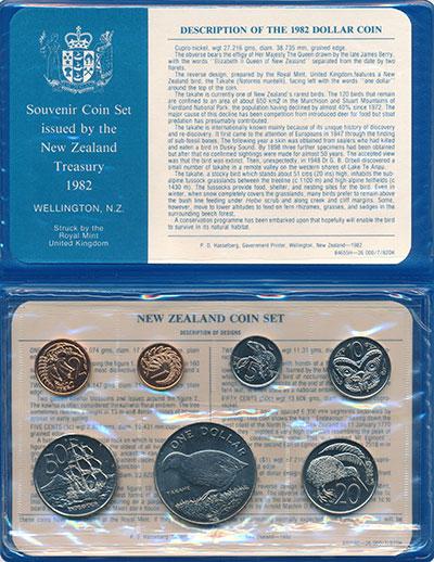 Изображение Подарочные монеты Новая Зеландия Выпуск монет 1982 1982  UNC Набор состоит из 7 м