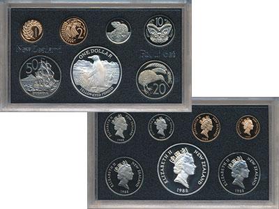 Изображение Подарочные монеты Новая Зеландия Набор монет 1988 года 1988  Proof Набор состоит из 7 м
