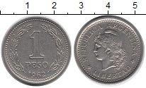 Изображение Дешевые монеты Аргентина 1 песо 1962 Медно-никель XF