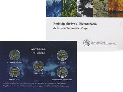 Изображение Подарочные монеты Аргентина 200 лет Майской революции 2010 Биметалл UNC