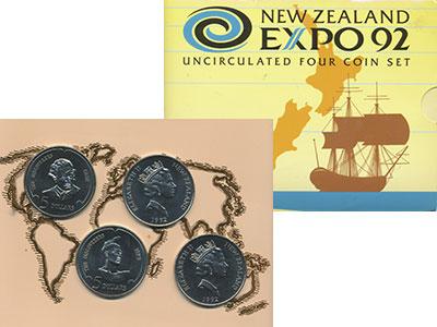 Набор монет Новая Зеландия Экспо-1992 (Великие открытия) Медно-никель 1992 UNC
