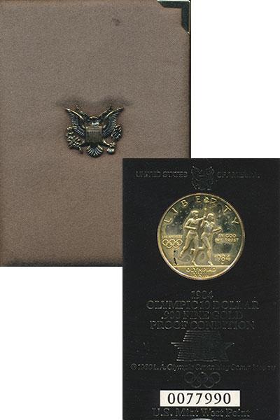 Изображение Монеты США 10 долларов 1984 Золото Proof Олимпийский огонь. М