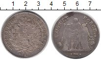 Изображение Монеты Франция 5 франков 1798 Серебро XF