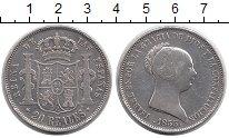 Изображение Монеты Испания 20 реалов 1855 Серебро XF