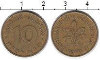 Изображение Дешевые монеты Германия 10 пфеннигов 1979 сталь покрытая латунью XF