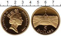 Монета Австралия 5 долларов Латунь 1988 Proof фото