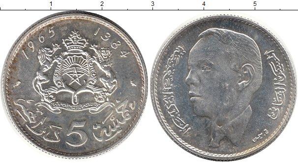 Картинка Монеты Марокко 5 дирхам Серебро 1965