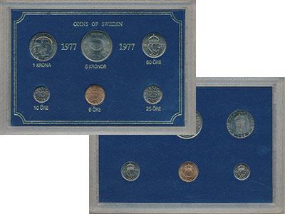 Изображение Подарочные монеты Швеция Набор монет 1977 года 1977  UNC `В наборе 6 монет но