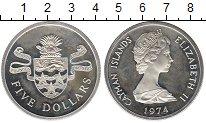 Изображение Монеты Великобритания Каймановы острова 5 долларов 1974 Серебро Proof-