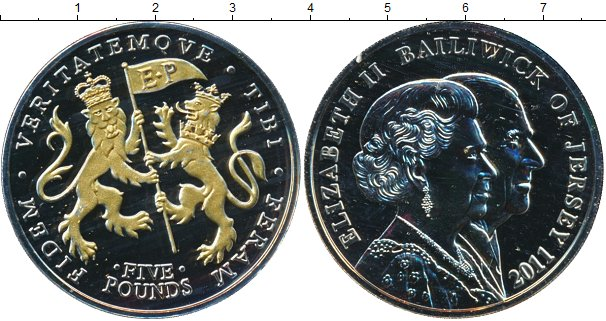 Картинка Подарочные монеты Остров Джерси 5 фунтов Медно-никель 2011
