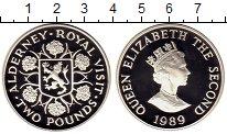 Изображение Монеты Великобритания Олдерни 2 фунта 1989 Серебро Proof