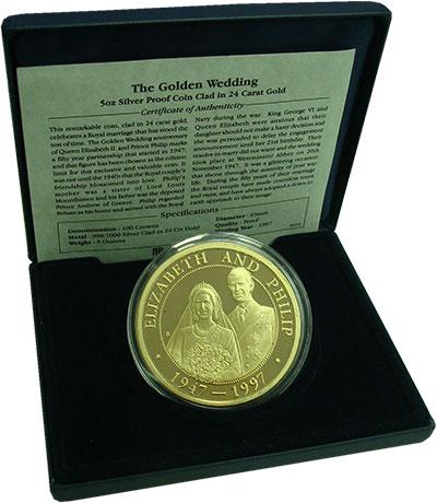 Изображение Подарочные монеты Теркc и Кайкос 100 крон 1997 Серебро Proof- Елизавета II и Филип