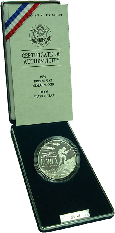 Изображение Подарочные монеты США 1 доллар 1991 Серебро Proof 38-летие окончания в