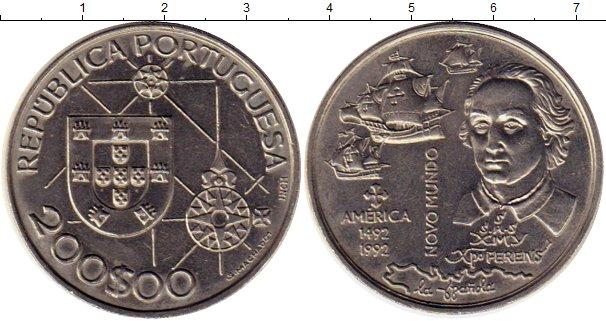 Картинка Монеты Португалия 200 эскудо Медно-никель 1992