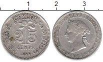 Изображение Монеты Шри-Ланка Цейлон 25 центов 1899 Серебро XF