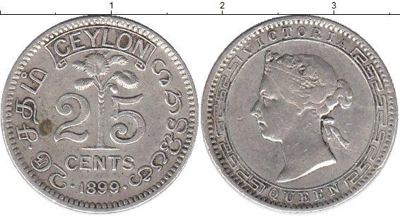 Картинка Монеты Цейлон 25 центов Серебро 1899