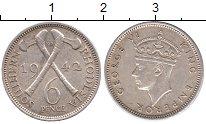 Изображение Монеты Великобритания Родезия 6 пенсов 1942 Серебро XF