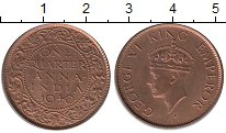 Изображение Монеты Индия 1/4 анны 1940 Бронза UNC-