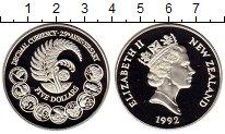 Изображение Монеты Новая Зеландия 5 долларов 1992 Серебро Proof