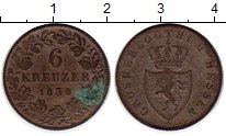 Изображение Монеты Германия Гессен 6 крейцеров 1838 Серебро XF