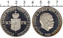 Изображение Монеты Лихтенштейн 10 франков 1988 Серебро Proof-