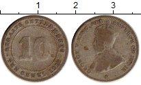 Изображение Монеты Великобритания Стрейтс-Сеттльмент 10 центов 1918 Серебро VF