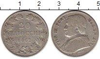 Изображение Монеты Ватикан 20 байоччи 1862 Серебро XF