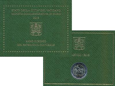 Изображение Подарочные монеты Ватикан 2 евро 2018 Биметалл UNC Европейский год Куль