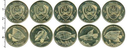 """Изображение Наборы монет Индонезия Малуку 2017 Латунь UNC- Набор Малуку """"Рыбы"""""""