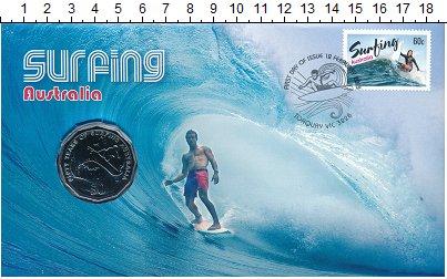Изображение Подарочные монеты Австралия 50 центов 2013 Медно-никель UNC- 50 лет сёрфингу