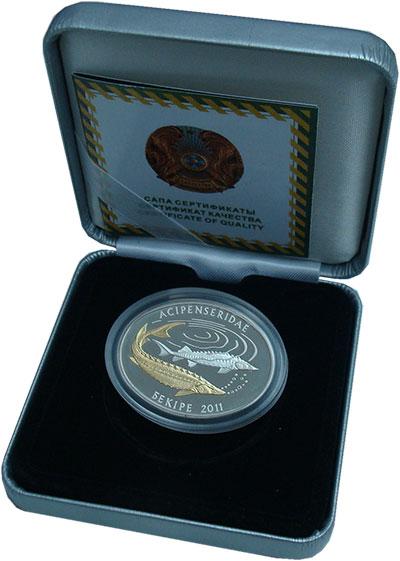 Изображение Подарочные монеты Казахстан 500 тенге 2011 Серебро Proof- <br>Осетр.<br>Оригин