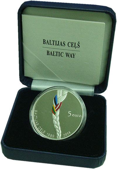 Изображение Подарочные монеты Латвия 5 евро 2014 Серебро Proof Балтийский путь. Сер