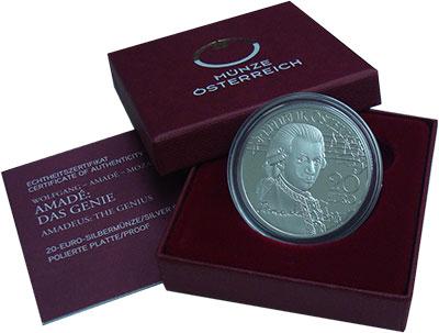 Изображение Подарочные монеты Австрия 20 евро 2016 Серебро Proof Вольфганг Амадей Моц