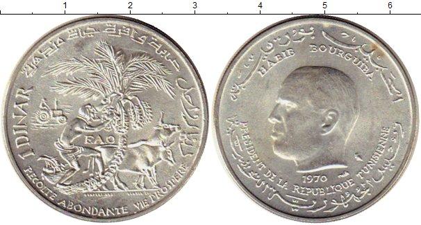 Картинка Монеты Тунис 1 динар Серебро 1970