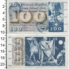 Изображение Банкноты Швейцария 100 франков 1970  VF