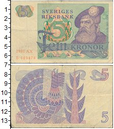 Изображение Монеты Швеция 5 крон 1981  VF