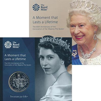 Изображение Подарочные монеты Великобритания 5 фунтов 2018 Медно-никель BUNC 65 лет правления Ели