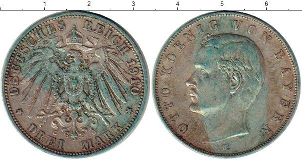 Картинка Монеты Бавария 3 марки Серебро 1910